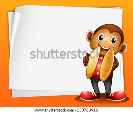Illustration of a monkey with cymbals and the blank space - stock vector