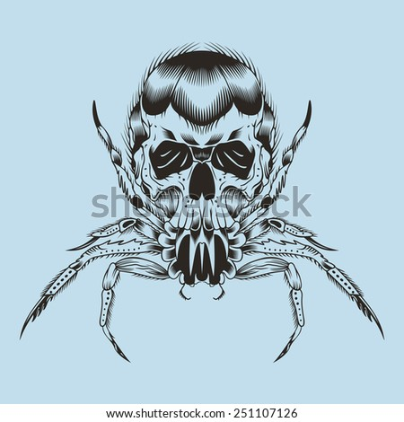 Illustration of a monster. Spider with skull. - stock vector