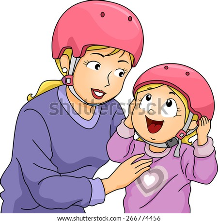 Illustration of a Mother Helping Her Daughter Put Her Helmet On - stock vector