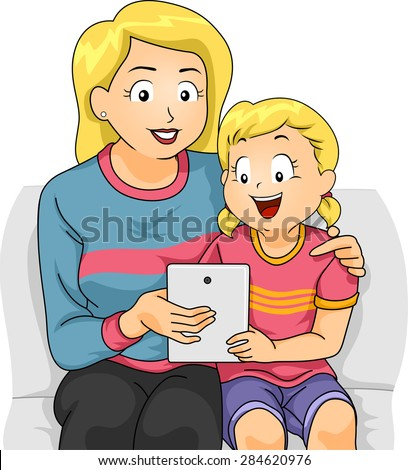 Illustration of a Mother Teaching Her Daughter How to Use a Tablet Computer - stock vector