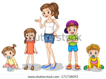 Illustration of a mother with her four kids on a white background - stock vector