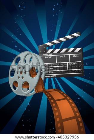 illustration of a movie items on fancy background - stock vector