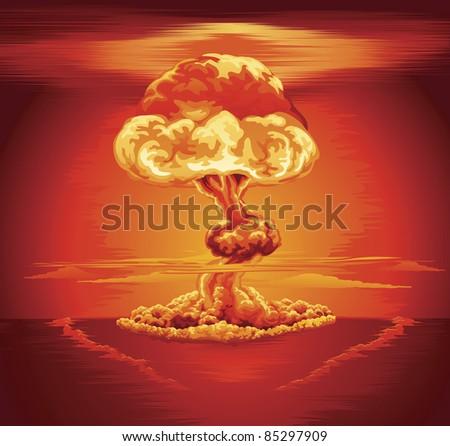 Illustration of a mushroom cloud following a nuclear explosion - stock vector