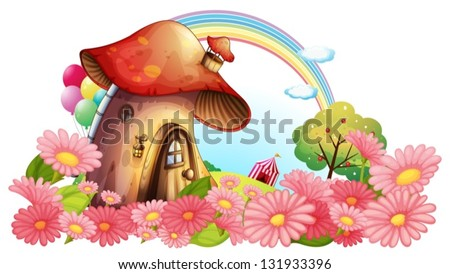 Illustration of a mushroom house with a garden of flowers on a white background - stock vector