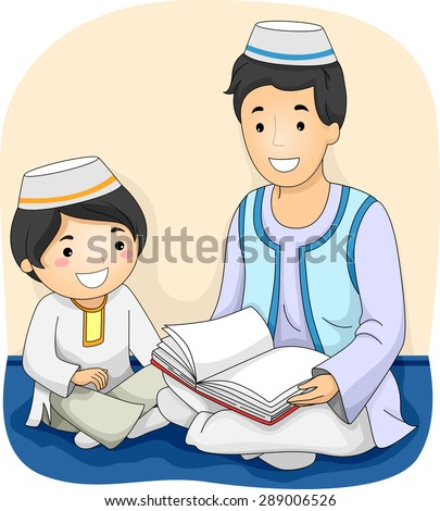Illustration of a Muslim Man Reading the Quran to a Muslim Boy - stock vector