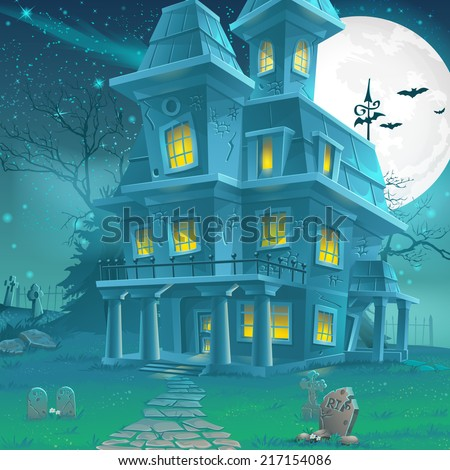 Illustration of a mysterious haunted house on a moonlit night - stock vector