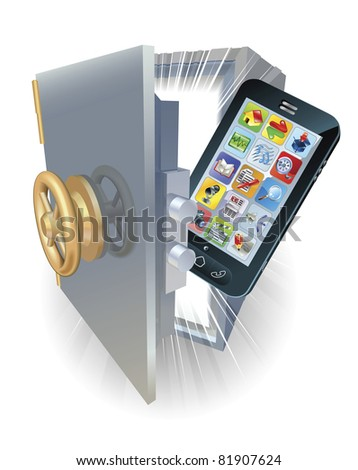 Illustration of a new mobile phone protected in a safe. - stock vector