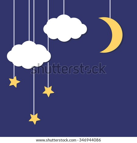 Illustration of a night sky with moon and stars. - stock vector