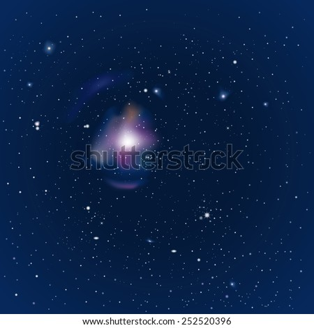 Illustration of a night sky with stars and nebula - stock vector