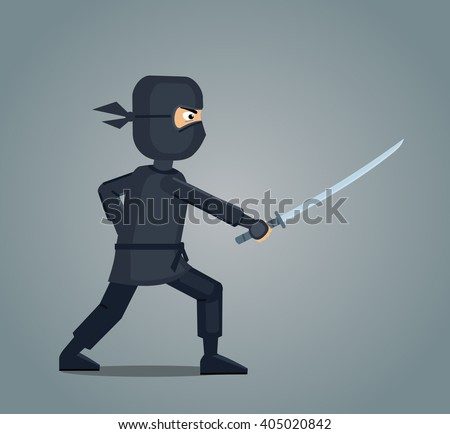 Illustration of a ninja with a sword - stock vector