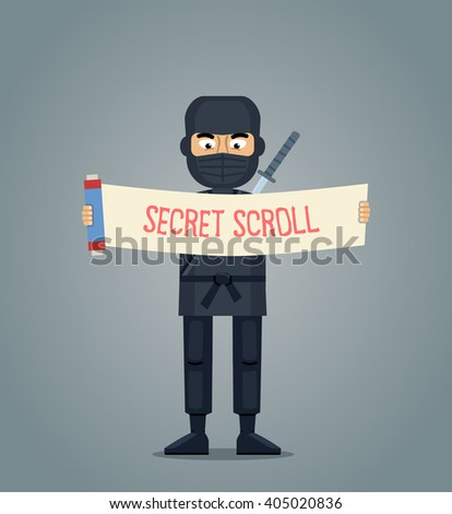 Illustration of a ninja with scroll - stock vector