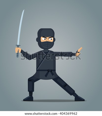 Illustration of a ninja with sword - stock vector
