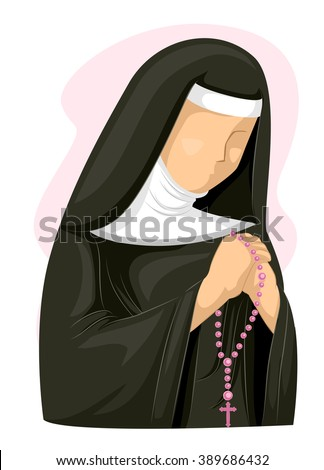 Illustration of a Nun Clutching a Rosary While Praying - stock vector