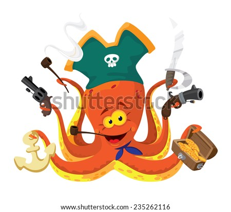 illustration of a octopus pirate - stock vector