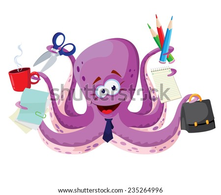 illustration of a octopus with office supplies - stock vector