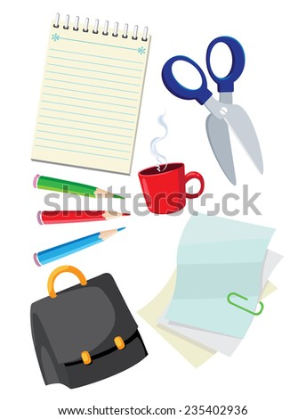 illustration of a office supplies - stock vector