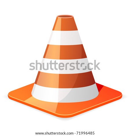 illustration of a orange traffic cone - stock vector