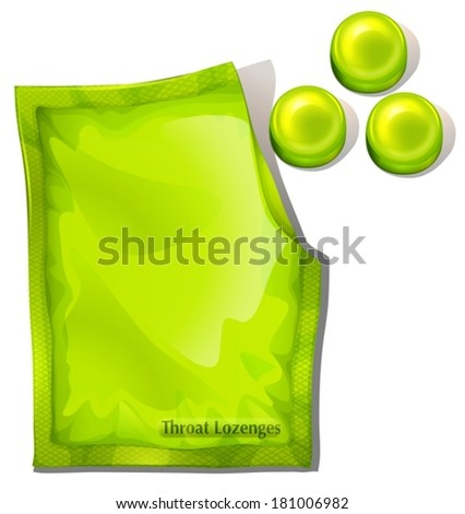 Illustration of a pack of green throat lozenges on a white background - stock vector