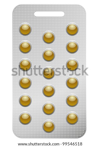 illustration of a pack of round pills, isolated on white