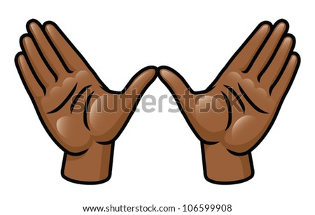 "Illustration of a pair of cartoon hands making a ""w"" or wing shape. Eps 10 Vector."