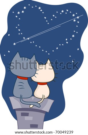 Illustration of a Pair of Cats Gazing at the Night Sky - stock vector