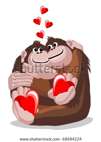 Illustration of a pair of lovers monkeys with hearts - stock vector