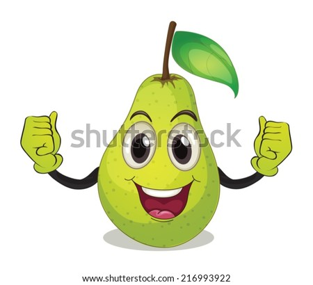 Illustration of a pear with face - stock vector
