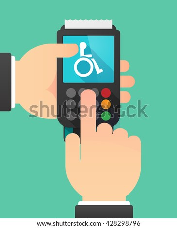 Illustration of a person hands using a dataphone with  a human figure in a wheelchair icon - stock vector