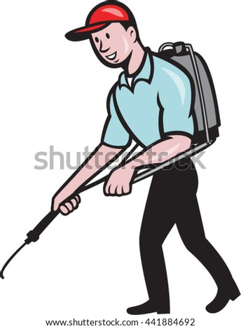 Illustration of a pest control exterminator spraying viewed from the side set on isolated white background done in cartoon style.