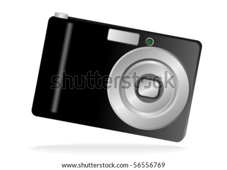 Illustration of a photo camera isolated on white - stock vector