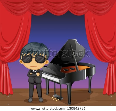 Illustration of a piano with a pianist - stock vector