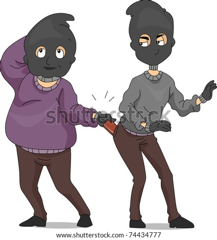 Illustration of a Pickpocket Taking Another Pickpocket's Wallet - stock vector