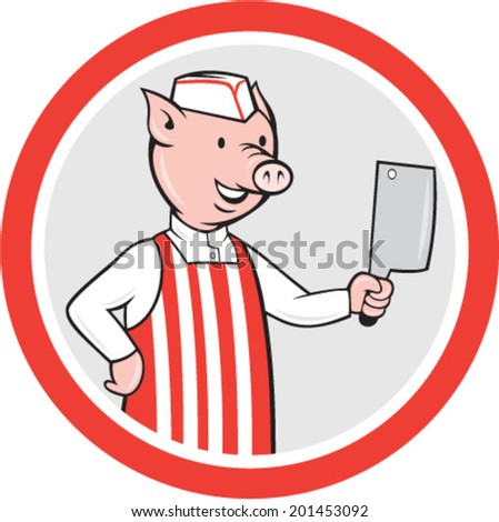 Illustration of a pig butcher holding knife set inside circle shape done in cartoon style on isolated white background.