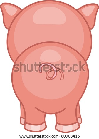 Illustration of a Pig with its Back Turned - stock vector