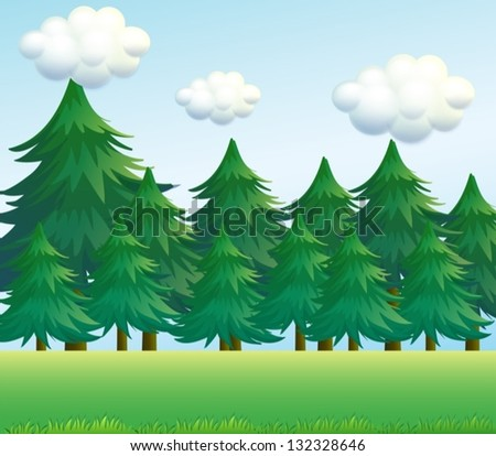 Illustration of a pine tree scenery - stock vector