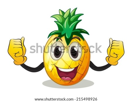 Illustration of a pineapple with face - stock vector