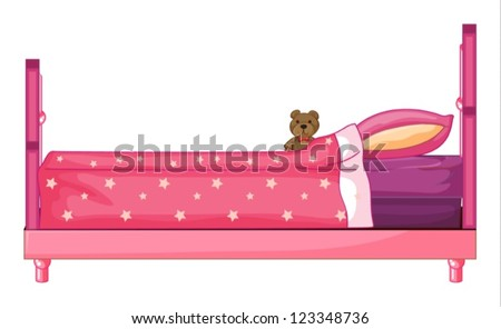 Illustration of a pink bed on a white background - stock vector
