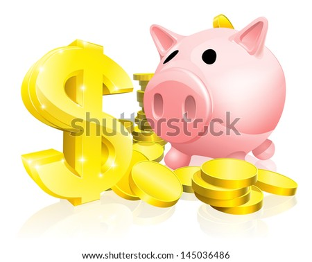 Illustration of a pink piggy bank with lots of gold coins and a big dollar sign or symbol - stock vector