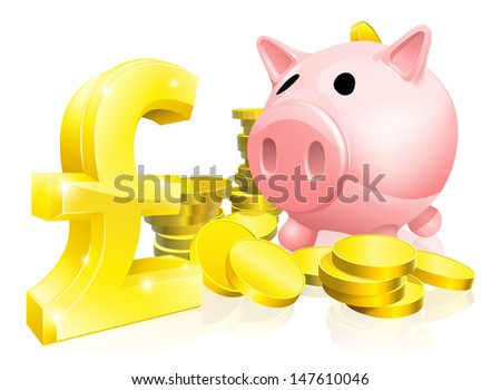Illustration of a pink piggy bank with lots of gold coins and a big pound sign or symbol - stock vector