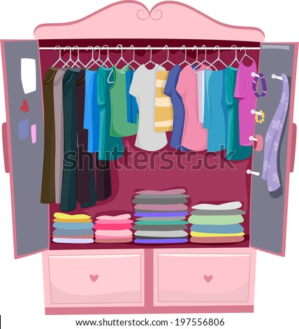 Illustration of a Pink Wardrobe Full of Women's Clothes - stock vector