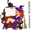 Illustration of a Pinup Girl in a Witch Costume - stock vector