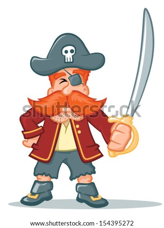 Illustration of a pirate character holing a sword/Vector Pirate Cartoon
