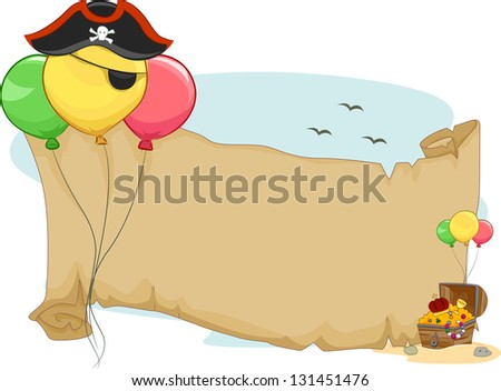 Illustration of a Pirate Party Scroll with Balloons - stock vector