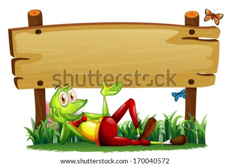 Illustration of a playful frog under the empty wooden signboard on a white background - stock vector