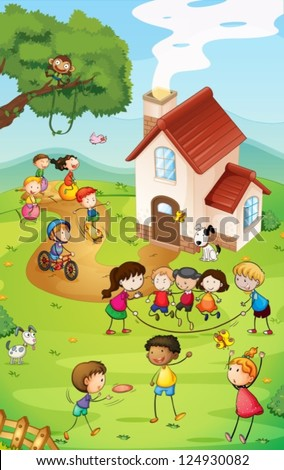 Illustration of a playground with so many kids - stock vector