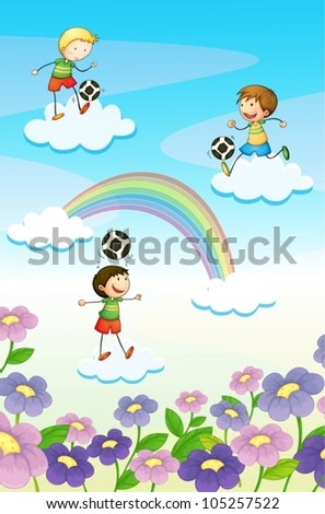 illustration of a playing kids on clouds - stock vector