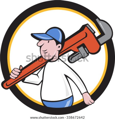 Illustration of a plumber holding monkey wrench on shoulder walking viewed from side set inside circle on isolated background done in cartoon style.