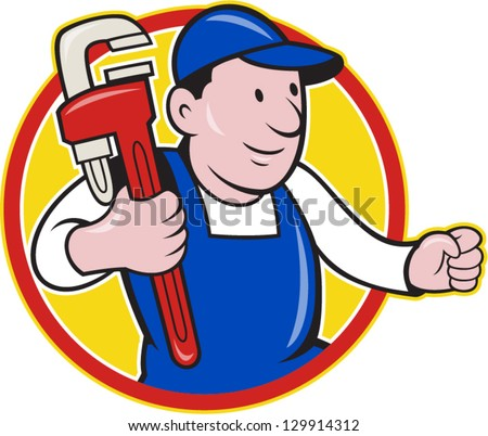 Illustration of a plumber with monkey wrench done in cartoon style on isolated background set inside circle.