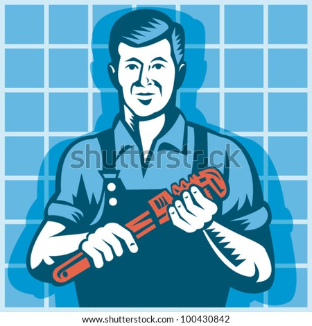 Illustration of a plumber worker tradesman holding monkey wrench with tile in background done in retro style.