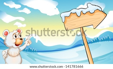 Illustration of a polar bear in the north pole - stock vector